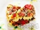 Рецепта Вкусен лапад с ориз, моркови, лук и домати печен в тава на фурна